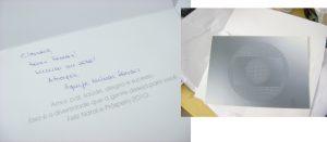 cartão nominal e escrit a mão